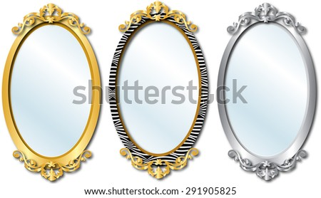 Raster version Illustration of three different elegant oval shaped mirrors. - stock photo