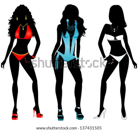 Raster version Illustration of three different swimsuit silhouette women in bikini and monokini swimwear. - stock photo