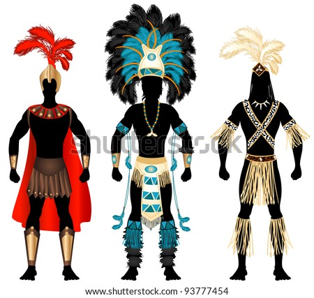 Raster version Illustration of three male Costumes for Festival, Mardi Gras, Carnival, Halloween or more. - stock photo