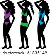 Raster version Illustration of three types of swimsuits illustrated on silhouettes. - stock photo
