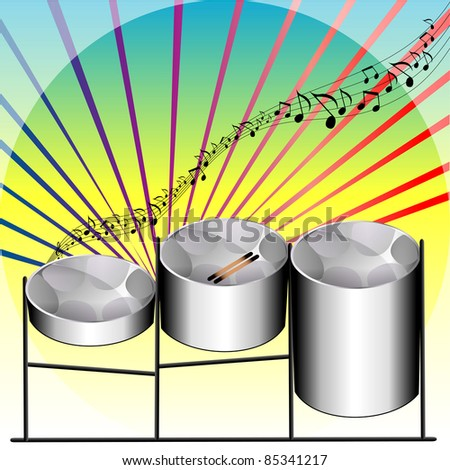 Raster version Illustration of three variations of Steel Pan Drums invented in Trinidad and Tobago. - stock photo
