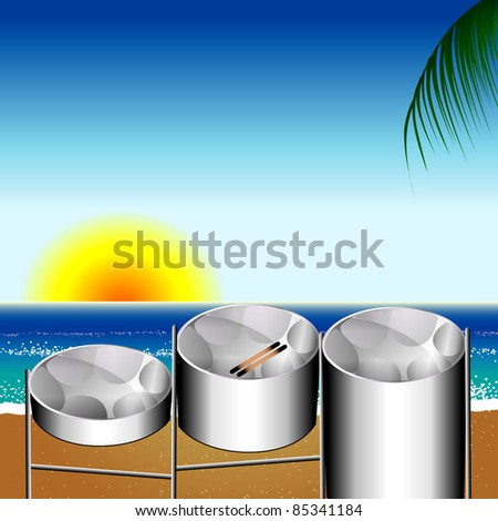 Raster version Illustration of three variations of Steel Pan Drums on the beach invented in Trinidad and Tobago. - stock photo