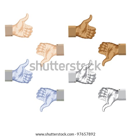 Raster version illustration of thumbs up and thumbs down hand gestures set. - stock photo