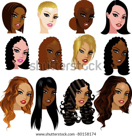 hairstyles for medium length natural hair : Raster version Illustration of Various Biracial Women Faces. Great for ...