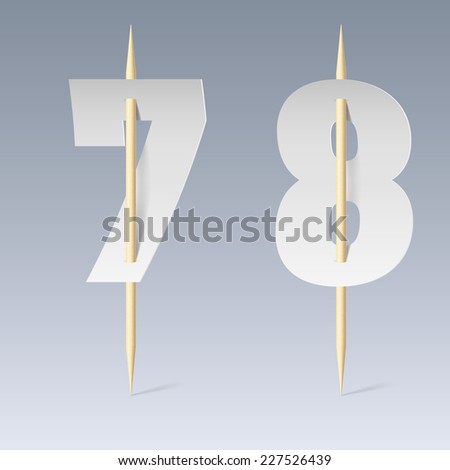 Raster version. Illustration of white paper cut font on toothpicks on grey background. 7 and 8 numerals  - stock photo