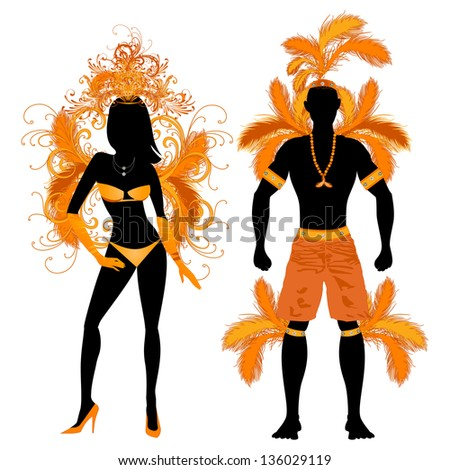 Raster version Illustration Orange Couple for Carnival Costume Silhouettes with a man and a woman. - stock photo