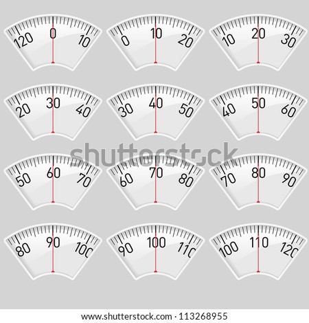 Raster version. Illustration set of a Scale for a Weighing Machine - stock photo