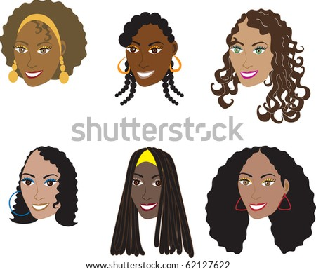 Raster version Illustration set of 6 natural and real hair styles for women with curly, kinky or wavy hair. Also available in straight styles or weaves and wigs. - stock photo