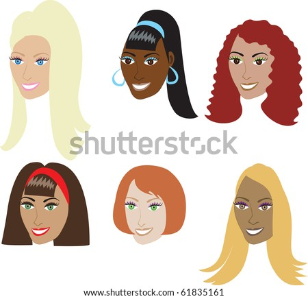 Raster version Illustration set of 6 types of hair extensions such as weaves and wigs on a diverse set of women. Also available in straight styles or natural African-American and real hair styles. - stock photo