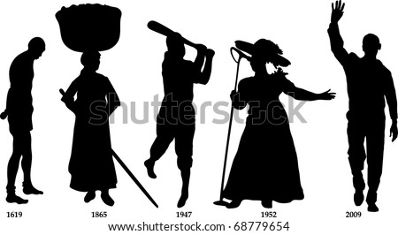 Raster version Illustration timeline for Black History month. Slavery from 1619-1865, Jackie Wilson in 1947, Mahalia Jackson in 1952 and Barack Obama became president in 2009. - stock photo