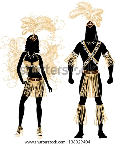 Raster version Illustration Zulu Couple for Carnival Costume Silhouettes with a man and a woman.