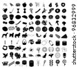 Raster version Illustrations of 100 Icon Set 3 - stock vector