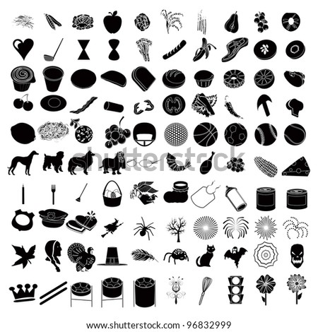 Raster version Illustrations of 100 Icon Set 3 - stock photo