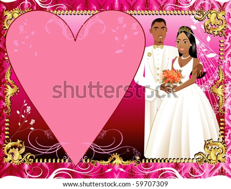 Raster version Invitation or template Illustration of beautiful bride and groom on their wedding day. Wedding Couple 3. - stock photo