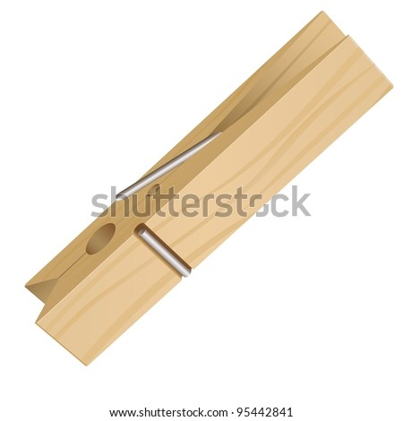 Raster version. Isolated Clothes Peg on a White Background for Design - stock photo
