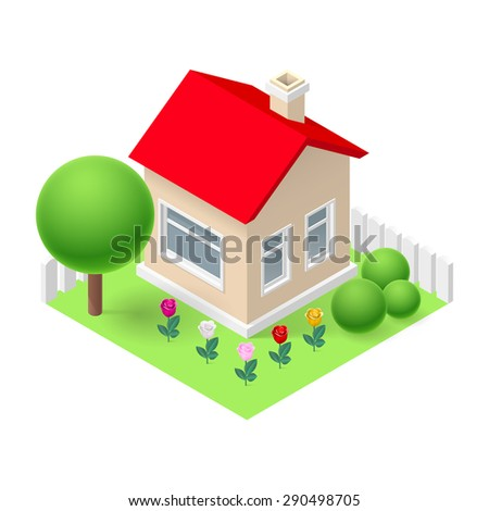 Raster version. Isometric 3d small home fenced with flowers and trees