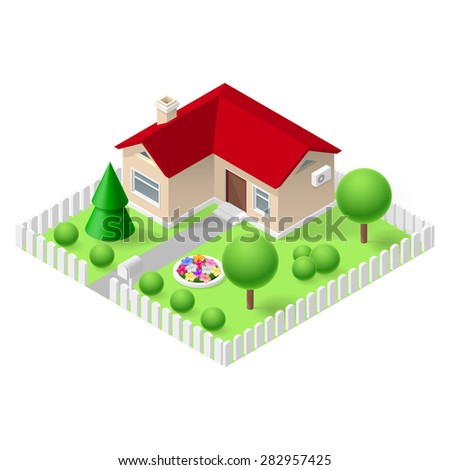 Raster version. Isometric 3d small home fenced with green grass and trees - stock photo
