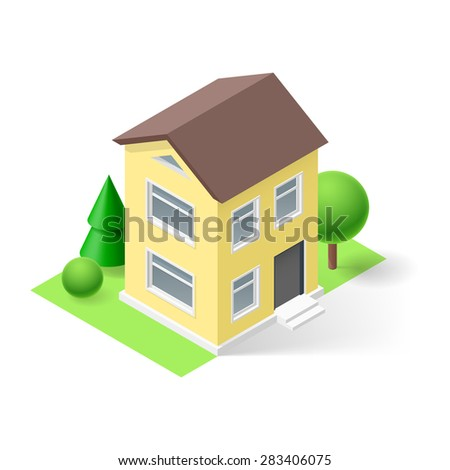 Raster version. Isometric 3d  yellow small house  with flowers and trees