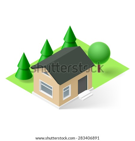 Raster version. Isometric small house with green grass and trees - stock photo