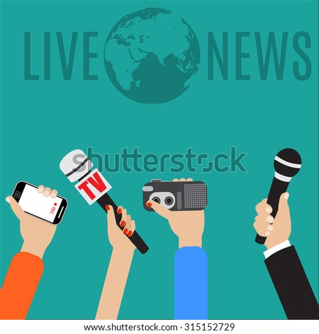 Raster version. Journalism concept illustration in flat style. live report concept, live news, hands of journalists with microphones, smartphone and tape recorders.  - stock photo