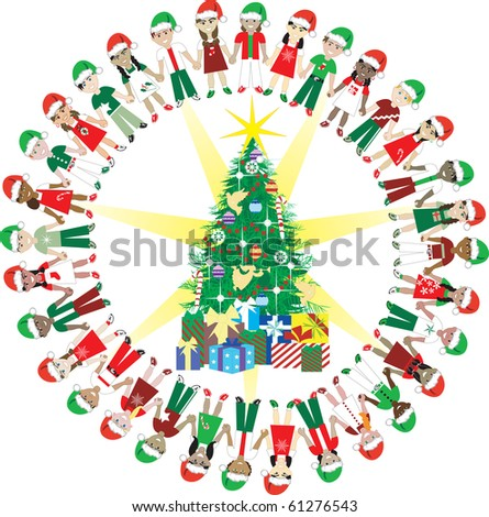 Raster version. Kids Love Christmas World 2. 32 Different Children representing different countries around the Christmas Tree. - stock photo
