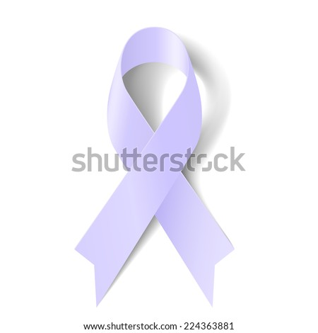 Raster version. Lavender ribbon as symbol of epilepsy, craniosynostosis and cancer awareness