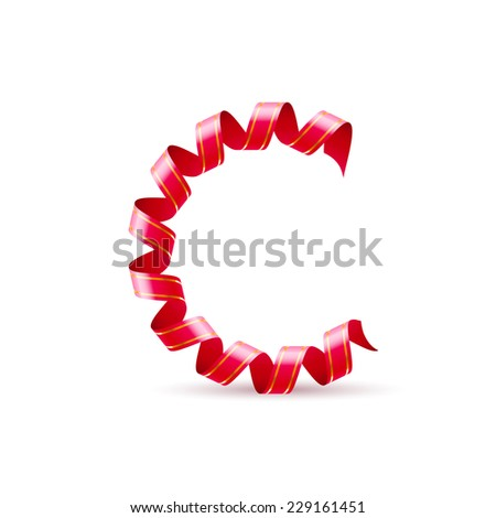 Raster version. Letter C made of red curled shiny ribbon  - stock photo