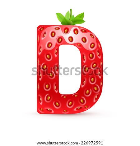 Raster version. Letter D in strawberry style with green leaves  - stock photo