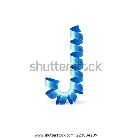 Raster version. Letter J made of blue curled shiny ribbon  - stock photo