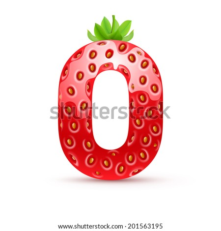 Raster version. Letter O in strawberry style with green leaves - stock photo