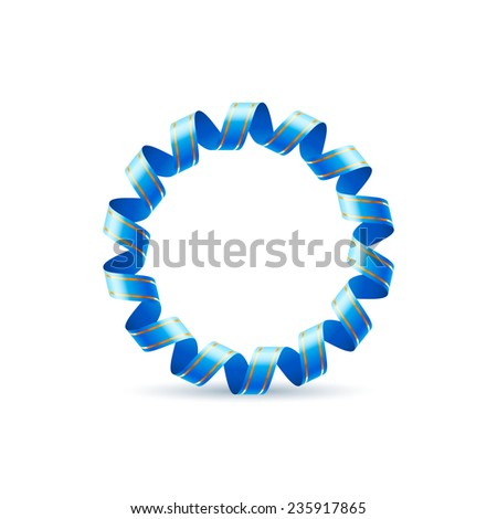 Raster version. Letter O made of blue curled shiny ribbon  - stock photo