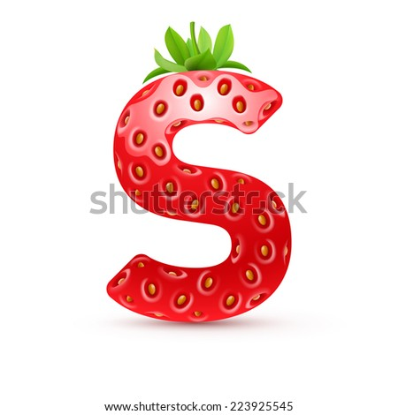 Raster version. Letter S in strawberry style with green leaves  - stock photo