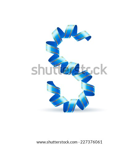 Raster version. Letter S made of blue curled shiny ribbon  - stock photo
