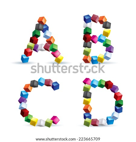 Raster version. Letters A, B, C and D made of colored blocks.  - stock photo