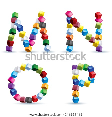 Raster version. Letters M, N, O and P made of colored blocks.  - stock photo