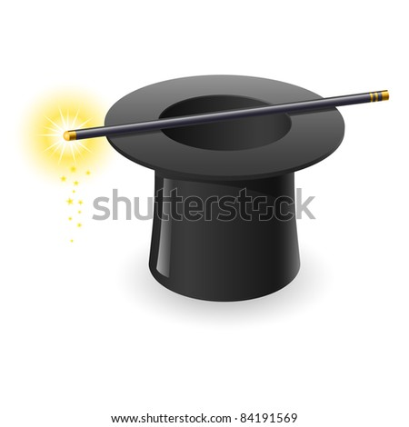 Raster version. Magic wand and hat. Illustration on white background