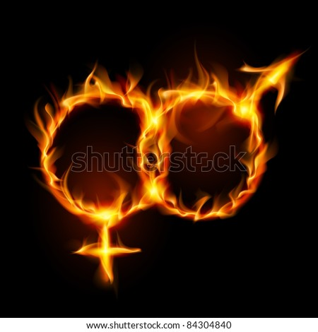 Raster version. Man and woman burning symbol. Illustration on black background - stock photo