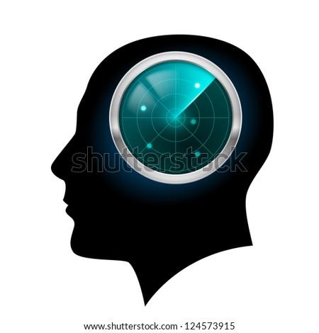 Raster version. Man head silhouette. Illustration for design on white background. - stock photo