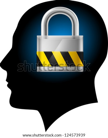 Raster version. Man with padlock in head. Illustration on white background for design