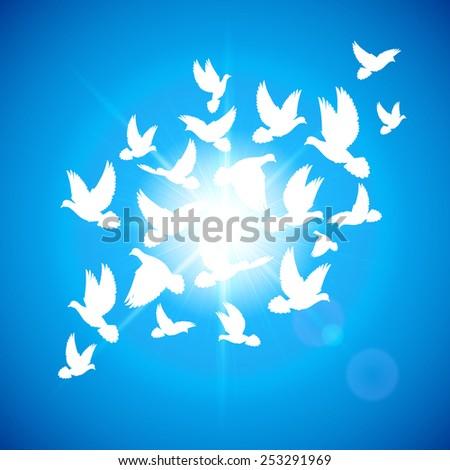 Raster version. Many white dove fly in  blue sky  - stock photo