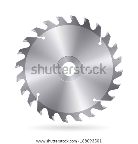 Raster version. Metal blade  of circular saw on white background - stock photo