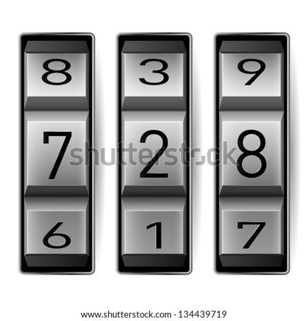 Raster version. Metallic combination lock with three number.  illustration. - stock photo