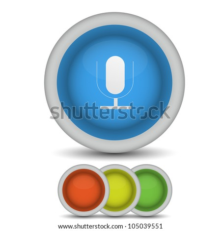 raster version. microphone icon on white - stock photo