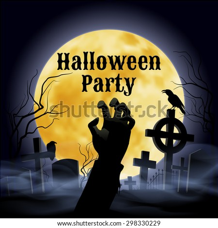Raster version. Misty graveyard with crooked crosses and an evil raven under full Moon with zombie hand  - stock photo
