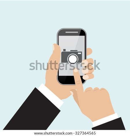 Raster version. mobile phone with touchscreen - man taking photograph with digital device  - stock photo