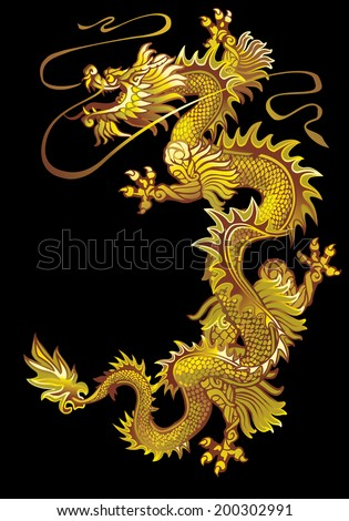 Raster version / Moving up the golden oriental dragon on a black background - stock photo