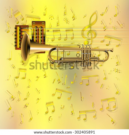 Raster version musical background trumpet with guitar strings on a gold background Sheet - stock photo