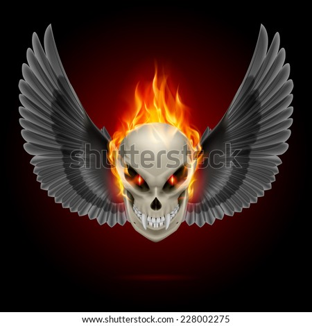 Raster version. Mutant skull with long fangs, orange flame and black wings  - stock photo