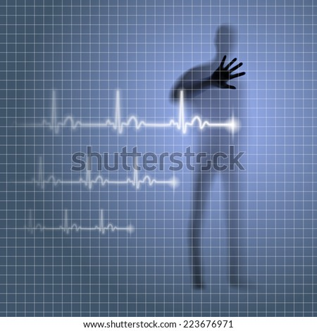 Raster version. Mysterious medical background with human silhouette and cardiogram line  - stock photo
