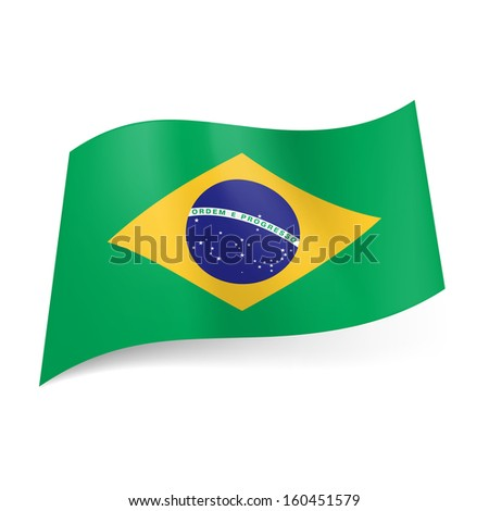 Raster version. National flag of Brazil: blue circle with starry sky and band with motto within yellow rhombus on green background. - stock photo
